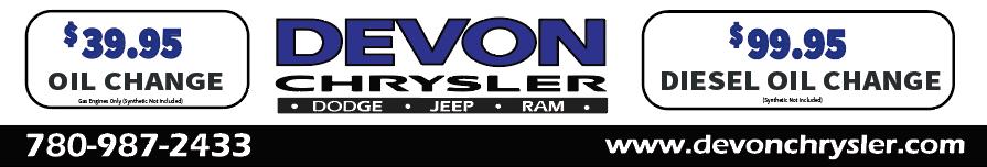 39.95 oil change Edmonton Devon Ram Trucks