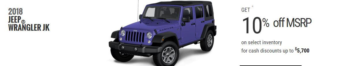 2018 Jeep Wrangler JK February Offers