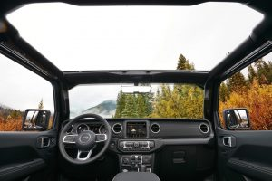 2020 Jeep Wrangler interior with top open