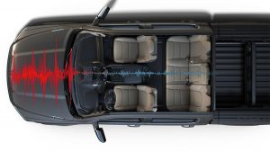 Overheard view of the interior of the 2020 Ram 1500 and its noise-cancelling capability
