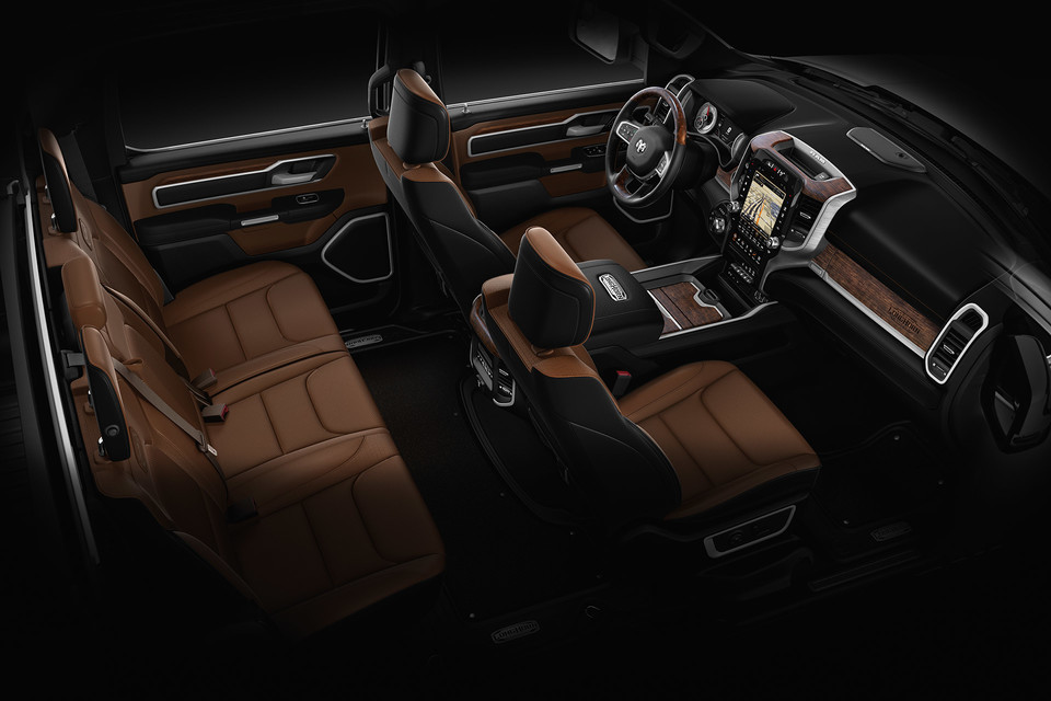 2020 Ram 1500 interior view of brown seats