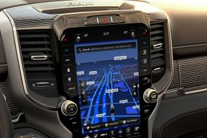 View of the large display screen inside the Ram 2500