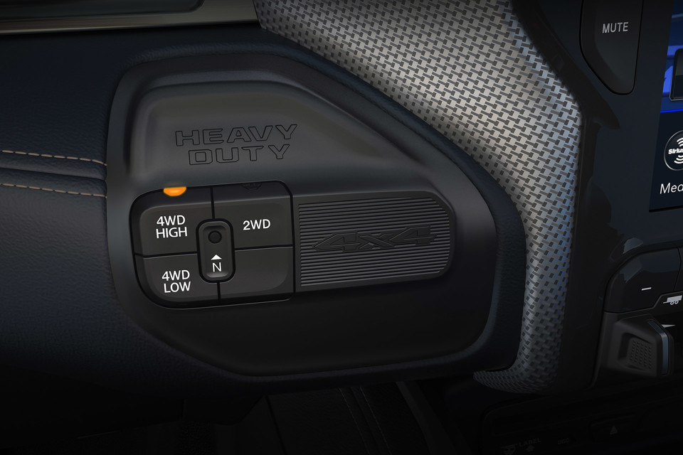 Close-up of 4x4 controls on the Ram 2500