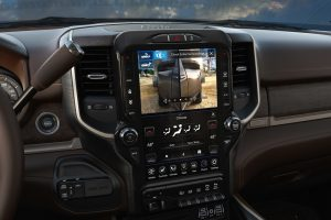 Interior display screen towing a trailer inside the Ram 2500