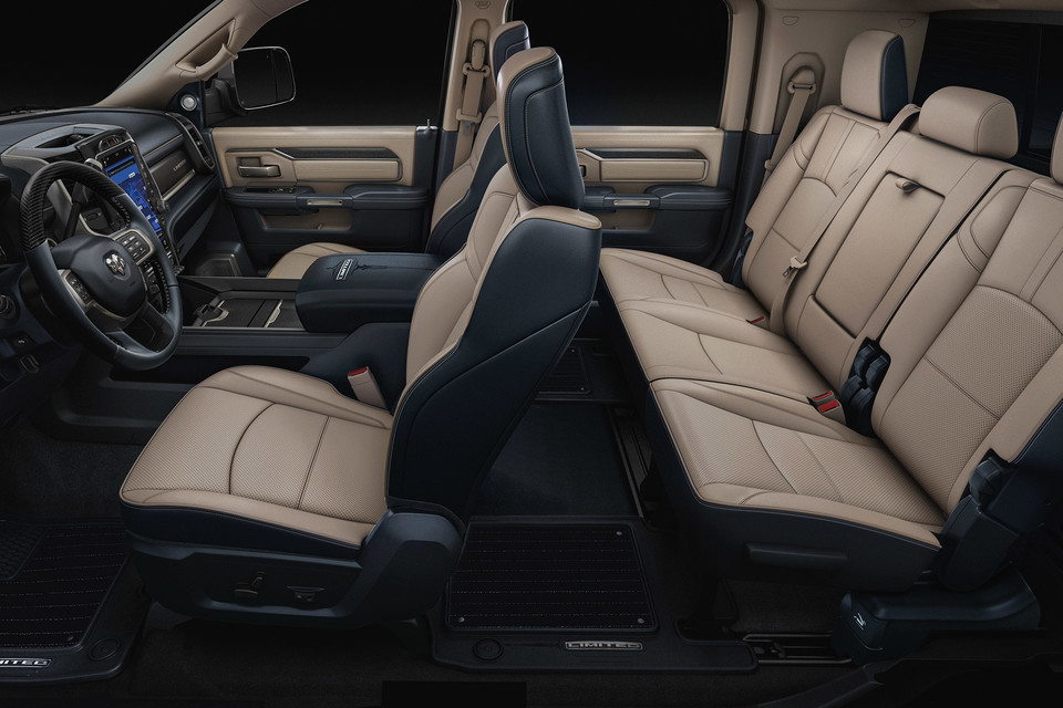 Side interior view of the Ram 2500 with the seats, steering wheel and dash