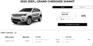 2020 Jeep Grand Cherokee Summit Devon Chrysler Special Offers Incentives Edmonton Cash Deal