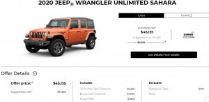 2020 Jeep Wrangler Unlimited Sahara Devon Chrysler Special Offers Incentives Edmonton cash