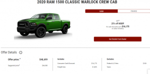 2020 Ram 1500 Classic Warlock Crew Cab Devon Chrysler Special Offer Cash