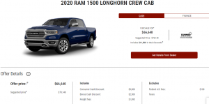 2020 Ram 1500 Longhorn Crew Cab Devon Chrysler Edmonton Cash Deal