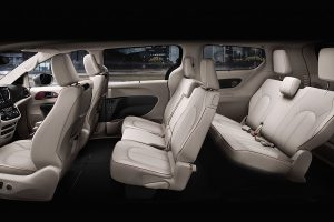 Side view of entire interior with 8 seats of Chrysler Pacifica