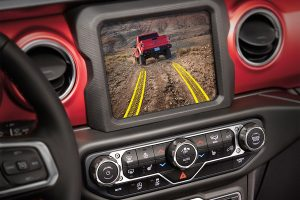 Jeep Gladiator interior screen of camera with tire track graphic
