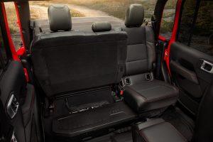 2020 Jeep Gladiator interior seats open, showing storage