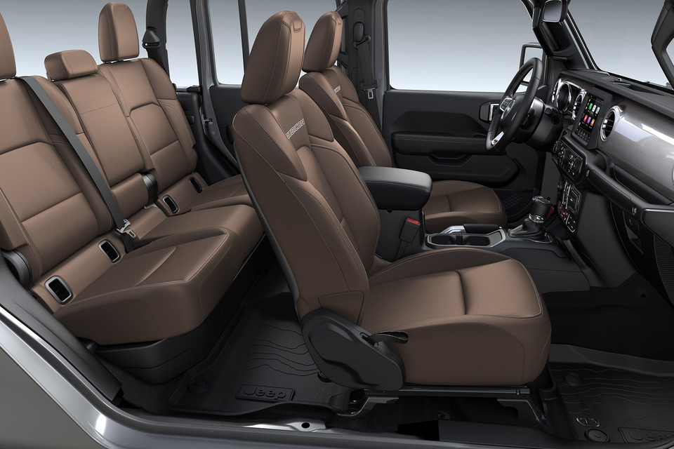 2020 Jeep Gladiator interior with brown seats from the side