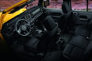 Interior view of the 2020 Jeep Wrangler