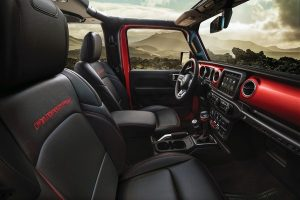 Interior front side view of 2020 Jeep Wrangler