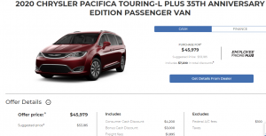 Devon Chrysler Pacifica 2020 Special Offers Incentives Edmonton