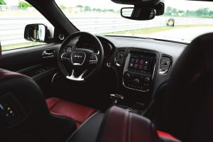 Interior of Dodge Durango SRT in black and red