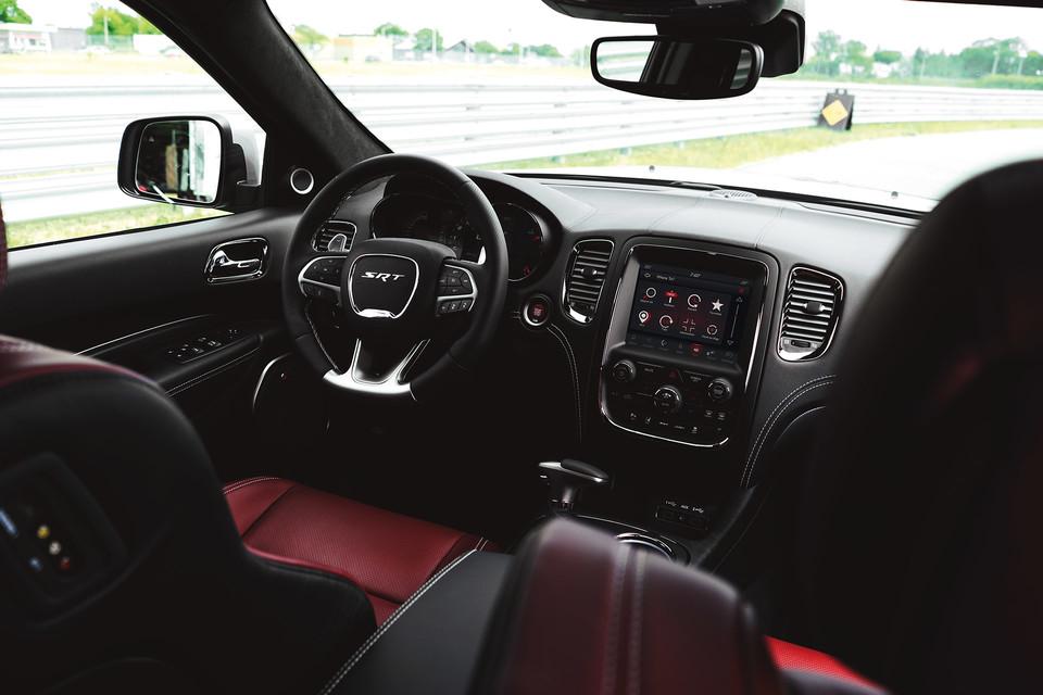 Interior of Dodge Durango SRT in black and red