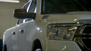 Close-up of Ram 1500 front end and headlight