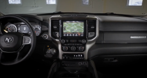 Ram 1500 Laramie front interior and tech display