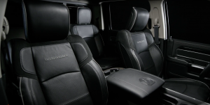 Front view toward the back of the front seats of the Ram 2500 Laramie
