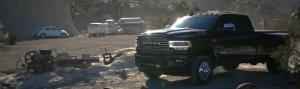 2020 Ram 3500 Laramie driving in a scrap yard
