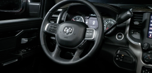 View of the steering wheel in the Ram 2500 Laramie